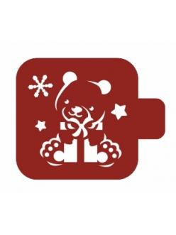 """Трафарет для росписи Модуль Новый год """"Медвежонок с подарком"""", 9х9 см, Event Design"""