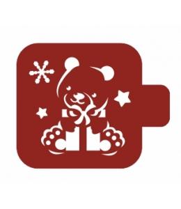 """Трафарет пластиковый Модуль Новый год М9Нг-44 """"Медвежонок с подарком"""" 9х9 см, Event Design"""