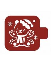 """Трафарет пластиковый Модуль Новый год М9Нг-45 """"Медвежонок и снежинки"""" 9х9 см, Event Design"""