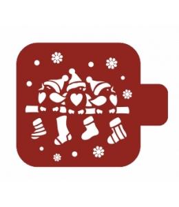 """Трафарет пластиковый Модуль Новый год М9Нг-58 """"Рождественские птички"""" 9х9 см, Event Design"""