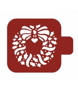 """Трафарет пластиковый Модуль Новый год М9Нг-66 """"Рождественский венок"""" 9х9 см, Event Design"""