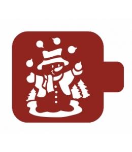 """Трафарет пластиковый Модуль Новый год М9Нг-68 """"Веселый снеговик"""" 9х9 см, Event Design"""