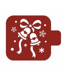 """Трафарет пластиковый Модуль Новый год М9Нг-70 """"Колокольчики и снежинки"""" 9х9 см, Event Design"""