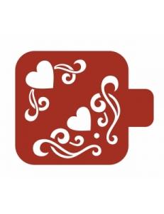"Трафарет пластиковый Модуль Аморе М9Ам-05 ""Сердечки"" 9х9 см, Event Design"