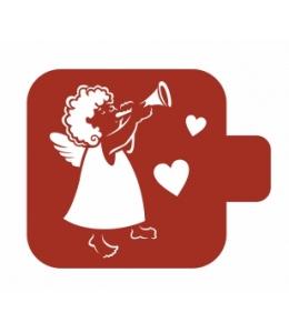 """Трафарет пластиковый Модуль Аморе М9Ам-29 """"Ангелочек с флейтой"""" 9х9 см, Event Design"""
