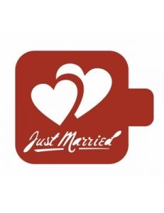 "Трафарет пластиковый Модуль Аморе М9Ам-42 ""Jast married"" 9х9 см, Event Design"