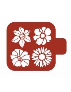 "Трафарет пластиковый Модуль Флора М9Фл-141 ""Летние цветы"" 9х9 см, Event Design"