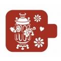"""Трафарет пластиковый Модуль Кухня М9Кх-45 """"Самовар и цветы"""" 9х9 см, Event Design"""