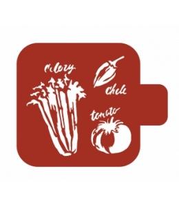 "Трафарет пластиковый Модуль Кухня М9Кх-51 ""Овощи"" 9х9 см, Event Design"
