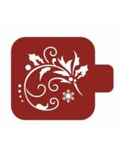 """Трафарет пластиковый Модуль Новый год М9Нг-06 """"Веточка и снежинка"""" 9х9 см, Event Design"""