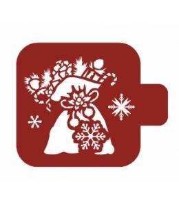 """Трафарет пластиковый Модуль Новый год М9Нг-171 """"Мешок с подарками"""" 9х9 см, Event Design"""