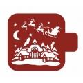 "Трафарет пластиковый Модуль Новый год М9Нг-71 ""Санта над крышами"" 9х9 см, Event Design"