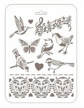 """Трафарет пластиковый Романтика РМ-23 """"Птицы и ноты"""", 22х31 см, Event Design"""