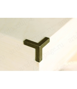 Уголок трехсторонний прямой, 3х3х3 см, цвет античная бронза