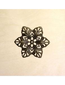 """Декоративный металлический элемент """"Цветок 3"""" 57 мм, цвет античная бронза"""