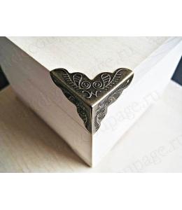 Декоративый уголок для шкатулок 24х24х24 мм, цвет античная бронза, 4 штуки