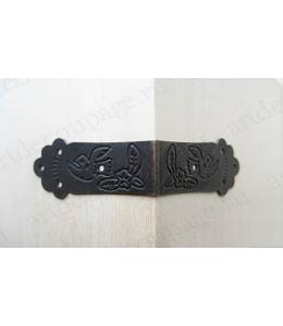 Декоративный  уголок скоба для шкатулок 67х67х30 мм, античная бронза, 1 шт.