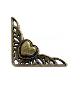 Декоративный  уголок для шкатулок 40х40 мм, цвет античная бронза, 4 штуки