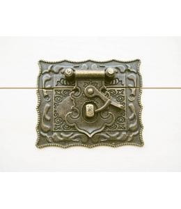 Замок накладка для шкатулок 58х67 мм, цвет античная бронза