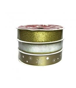 Набор новогодних лент Золотой, 15 мм х 3 м, 3 шт.  HEMLINE