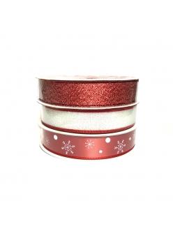 Набор новогодних лент Красный, 15 мм х 3 м, 3 шт.  HEMLINE