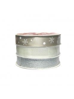 Набор новогодних лент Серебро, 15 мм х 3 м, 3 шт.  HEMLINE