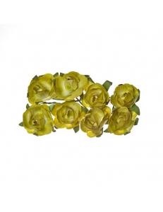 Цветы для скрапбукинга Розы бумажные зеленые, 8 штук, ScrapBerry's