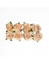 Цветы для скрапбукинга Розы бумажные персиковые, 8 штук, ScrapBerry's