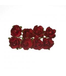 Цветы для скрапбукинга Розы бумажные бордовые, 8 штук, ScrapBerry's