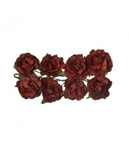 Цветы для скрапбукинга Кудрявые розы из бумаги коричневые, 8 штук, ScrapBerry's