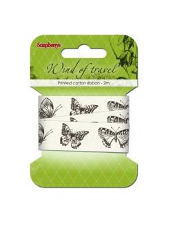 Декоративная хлопковая лента с рисунком Ветер странствий, бабочки, 20 мм, 2м, ScrapBerry's