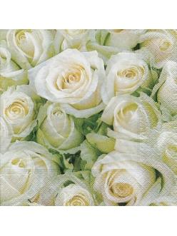 Салфетка для декупажа Белые розы, 33х33 см