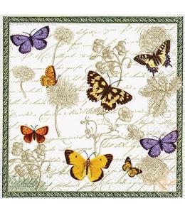 """Салфетка для декупажа """"Винтажные бабочки и цветы"""", 33х33 см, Германия"""