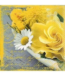 """Салфетка для декупажа """"Желтые розы и штампы"""", 33х33 см, Германия"""