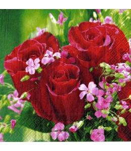 """Салфетка для декупажа """"Букет красных роз"""", 33х33 см, Германия"""