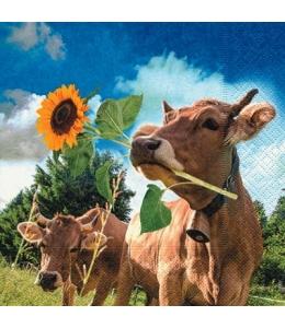 "Салфетка для декупажа ""Корова с подсолнухом"", 33х33 см, Германия"
