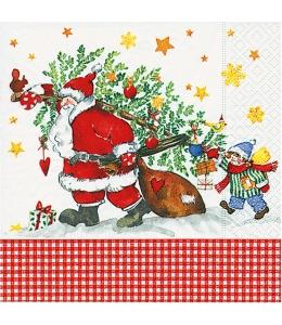 "Салфетка для декупажа ""Дед Мороз с подарками"", 33х33 см, Германия"