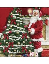 """Салфетка для декупажа """"Санта у ёлки"""", 33х33 см, Германия"""