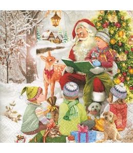 "Салфетка для декупажа ""Дед Мороз и дети"", 33х33 см, Германия"