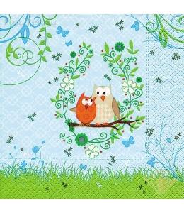 """Салфетка для декупажа """"Две совы на ветке"""", 25х25 см, Германия"""