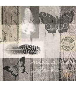 "Салфетка для декупажа ""Бабочки, текст, перья"", 33х33 см, Германия"