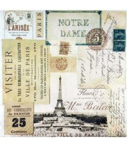 """Салфетка для декупажа """"Париж, винтаж"""", 33х33 см, Германия"""