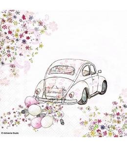 """Салфетка для декупажа """"Свадебный автомобиль"""", 33х33 см, Голландия"""