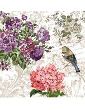 "Салфетка для декупажа SDC000400 ""Цветы и птица"", 25х25 см, Германия"