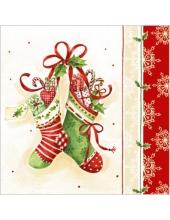 """Салфетка для декупажа """"Рождественские носки"""", 33х33 см, Paw (Польша)"""
