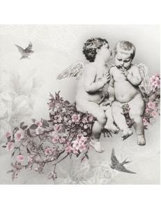 "Салфетка для декупажа SDC076300 ""Ангелы на цветущей ветке"", 25х25 см, Германия"