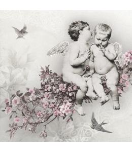 "Салфетка для декупажа SDC076300 ""Ангелы на цветущей ветке"", 25х25 см, Польша"