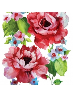 Салфетка для декупажа Розы акварельные, 33х33 см, Польша