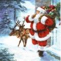 """Салфетка для декупажа """"Санта с подарками и олени"""", 33х33 см, Paw (Польша)"""