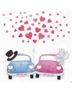 """Салфетка для декупажа """"Свадебные авто"""", 33х33 см, Германия"""